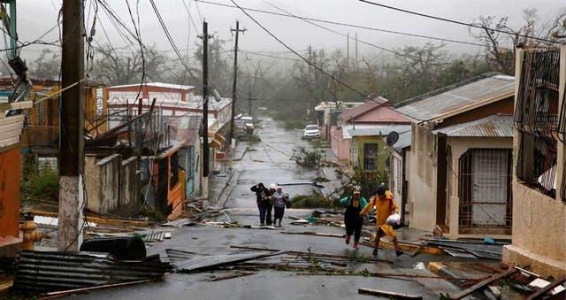 La localidad puertorrique?a de Guayama, ayer, tras el impacto del huracán