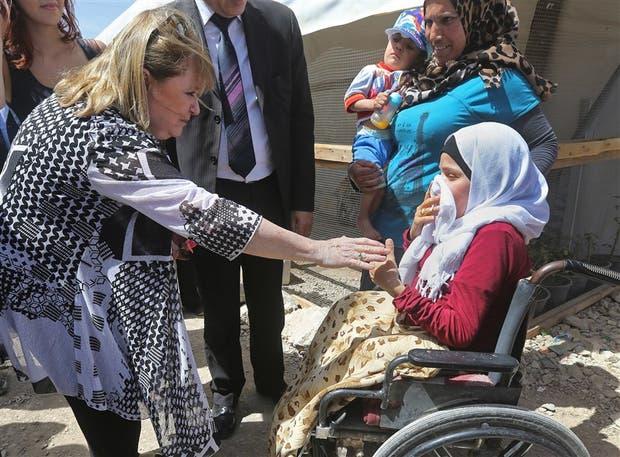 Malcorra, en una visita reciente a refugiados sirios en el Líbano