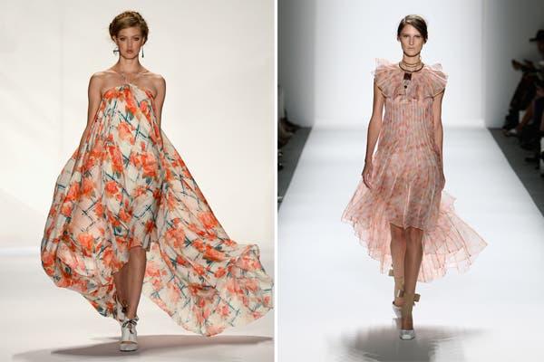 Rebecca Minkoff y Zimmermann apuestan por las flores y la fluidez en la caída de sus vestidos. Foto: image.net