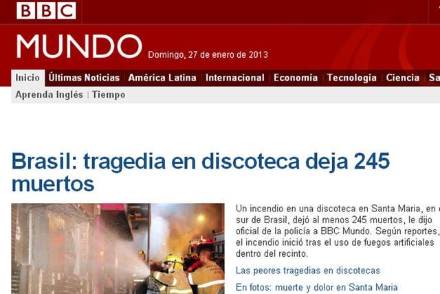 La BBC destaca como una de las más importantes la información sobre la tragedia en Brasil