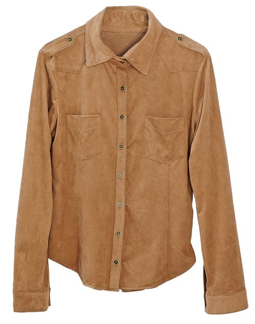 Camisa cowboy gamuza (Estancias Chiripa, antes$382, ahora $305).