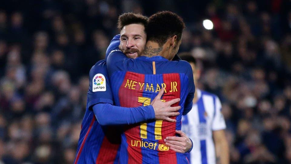 Messi y el festejo con Neymar foto: AP