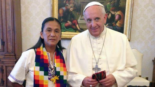 Milagro Sala y el papa Francisco, en 2014