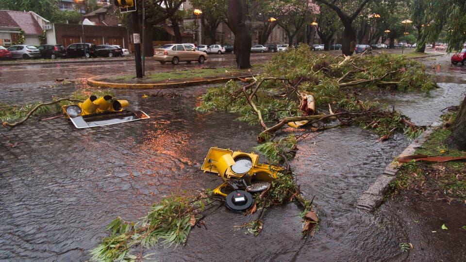 El mal clima afecta a gran parte del país, en Rosario una feroz tormenta dejó como saldo árboles caídos y semáforos rotos. Foto: LA NACION / Marcelo Manera