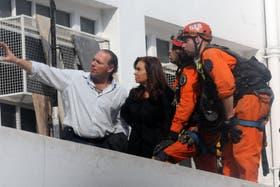 Cristina Kirchner estuvo en la zona afectada por la explosión