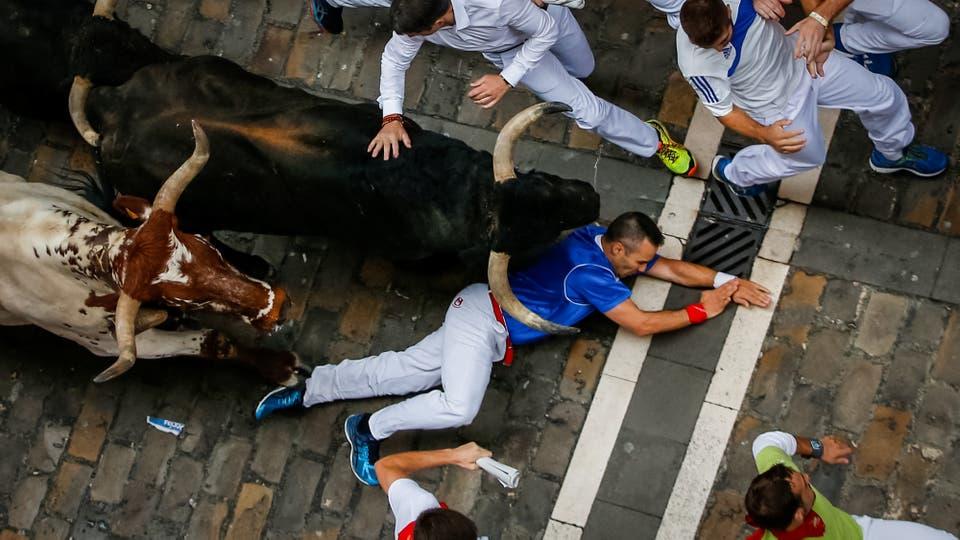 El festival y los encierros de San Fermin, en Pamplona. A primera hora de la mañana cientos de personas corren frente a 6 toros que a la tarde se enfrentan a los toreros en la plaza. Foto: Reuters / Susana Vera