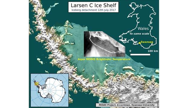 Un mapa que muestra el área que se desprendió de la Antártida