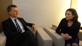 Mauricio Macri y Sheryl Sandberg, durante su reunión en el Foro de Davos