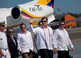 El presidente ecuatoriano al llegar a La Habana hoy