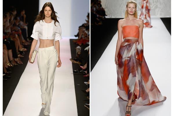 BCBG Max Azria y Monique Lhuillier se sumaron a la tendencia de los tops cortos. Foto: image.net