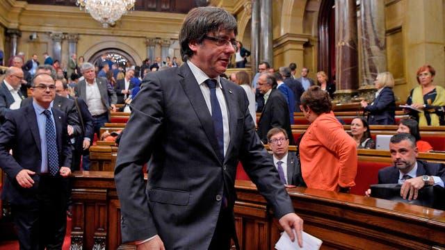 Carles Puigdemont, a su llegada al Parlamento
