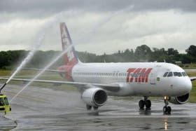 El primer vuelo de Tam a Rosario, en enero pasado