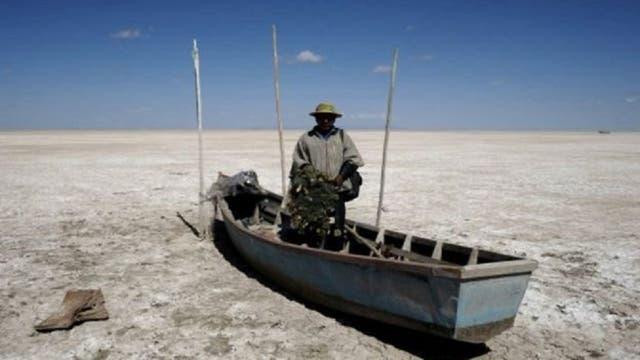 El lago Poopó se secó durante 2015.