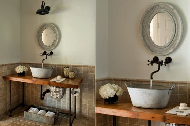Bachas Para Baño Modernas:El antiguo balde de metal convertido en bacha es un gran recurso para