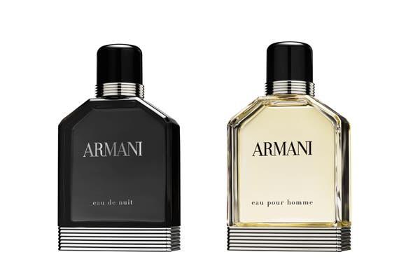Armani Eau pour Homme 100ml ($685) y Eau de Nuit 100ml ($685), juegan con los códigos eternos de la masculinidad, la elegancia y la belleza. Foto: Mediática PR