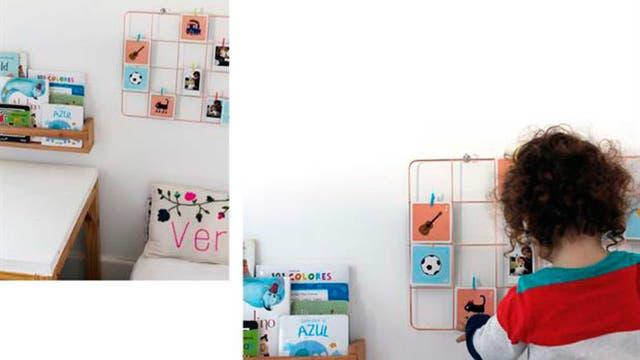 Malla metálica de papelera contemporánea en Mercado Libre Design $390 / Almohadón con nombre Bordado a mano de Almohadones bordados By Mili Suarez / Estante para libros de Tienda Festival $700