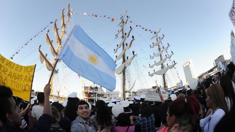 El arribo de la Fragata Libertad a Buenos Aires. Foto: LA NACION / Mauro Alfieri