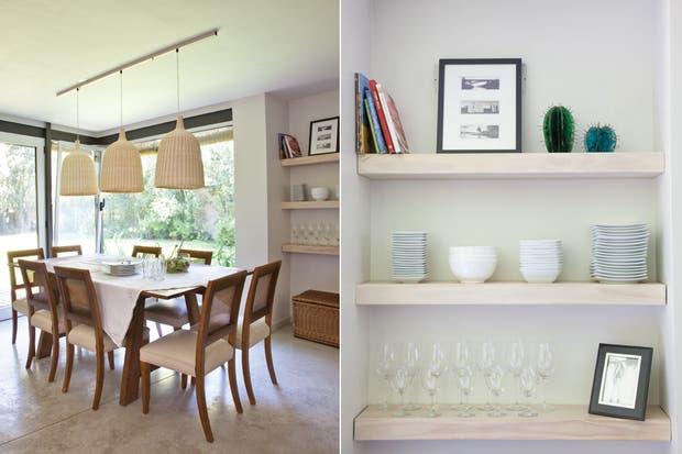 Coherente con la modernidad del planteo, para la cocina se eligieron muebles de líneas netas, de manera que se borraran los límites entre las áreas de servicio y las sociales..