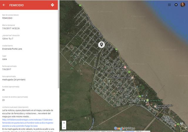 El mapa muestra el lugar exacto de un femicidio que fue denunciado en el mapa por una mujer que se enteró del hecho a través de los medios