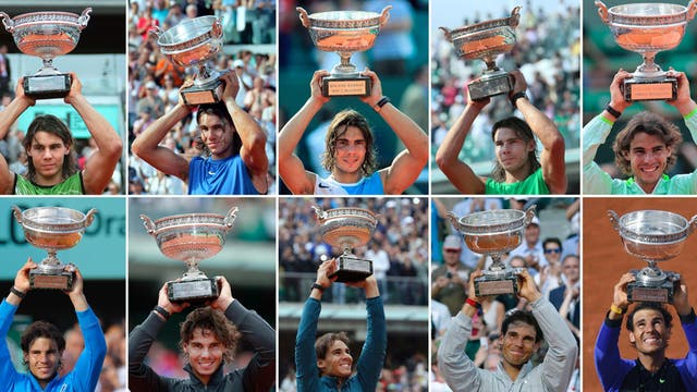 Las 10 veces que Rafa Nadal levantó el trofeo de Roland Garros