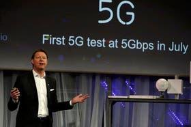 Hans Verstberg, CEO de Ericsson, durante su presentación en el Congreso Mundial de Móviles