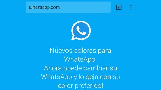 Así se ve el falso sitio que promete una versión de WhatsApp con diferentes colores