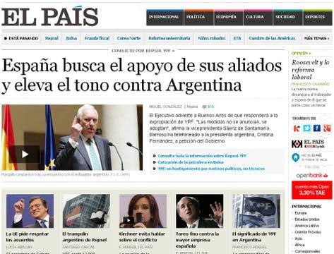 El País, otro de los medios que en su edición digital utilizó el tema de YPF como el principal.