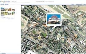 Una vista de la página local de Google Maps, con el detalle del Planetario, sede del encuentro de mañana
