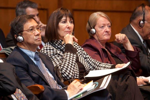 Felisa Miceli participó hoy de una conferencia en el Banco Nación junto al equipo económico del Gobierno