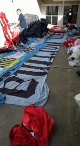 Las banderas secuestradas en los allanamientos de esta madrugada