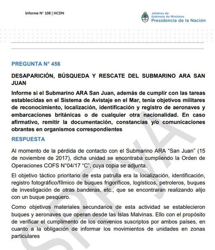 Submarino ARA San Juan realizaba labores de vigilancia cerca de Islas Malvinas