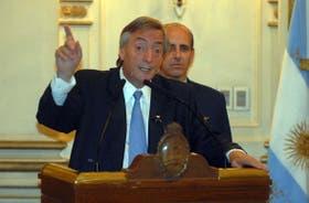 El Presidente, ayer, al encabezar un acto en la Casa Rosada