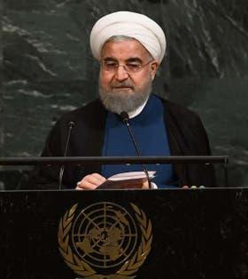 El presidente de Irán, Hassan Rohani, en el recinto de la ONU
