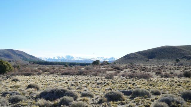 A los pies del cerro Los Pinos pudimos ver, a lo lejos, la cumbre nevada del volcán Lanín.
