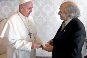 Pérez Esquivel, en una audiencia con el papa Francisco, en una de sus últimas apariciones públicas.
