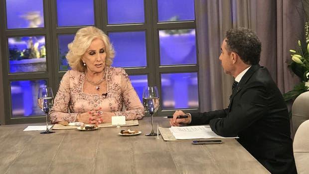 Mirtha Legrand en una entrevista, junto al periodista Luis Majul