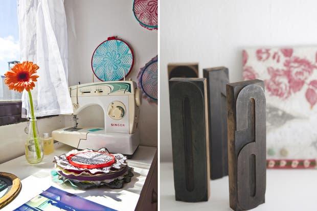 La marca personal de Luz aparece en cada rincón, como en los bastidores (chicos $80, grandes $90) y las mantillas realizadas con serigrafía sobre papel y técnica mixta ($300)..