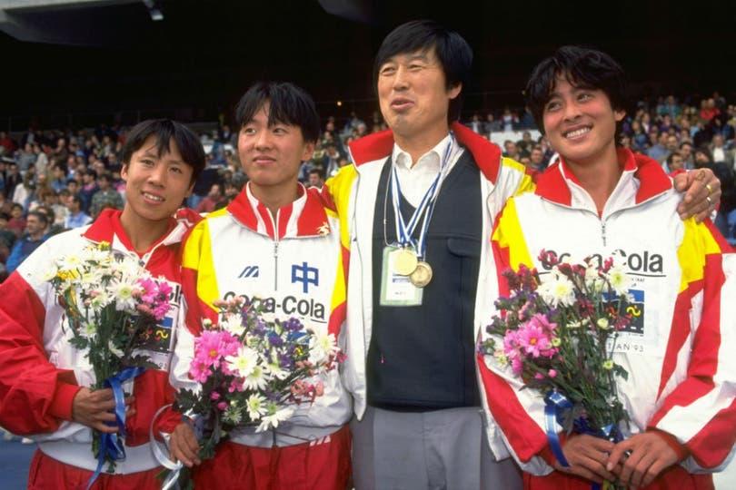 Khang Lirong, Wang Junxia, Ma Juhren y Zhang Linli, juntos en 1993