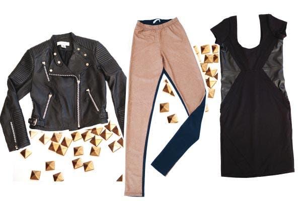 Campera de cuero negra, Paula Cahen D''Anvers. Calzas bicolor con elástico a la cintura, Muaa. Vestido con recortes de cuero, Muaa.