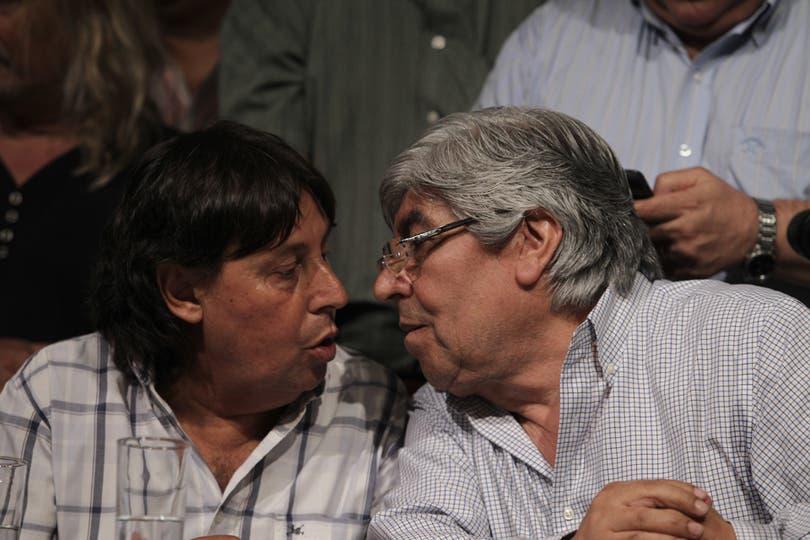 Moyano y Micheli durante la conferencia de prensa por el paro del 20N. Foto: LA NACION / Fabián Marelli
