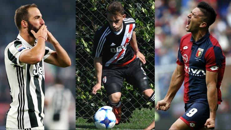 Gonzalo Higuaín y Gio Simeone rodean a Nahuel Gallardo, listo para debutar en River