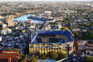 Una vista aérea del estadio, antes de que todo empezara.