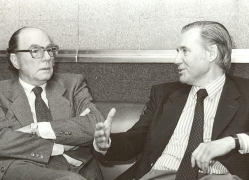 Felix Luna y Miguel Angel Inchausti, en 1990. Foto: Archivo / Búsqueda documental de Gabriela Miño