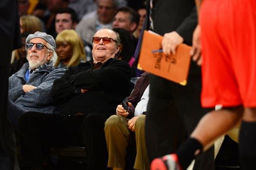 Jack Nicholson fue a ver con amigos a Los Angeles Lakers vs.  Washington Wizards. Foto: AFP