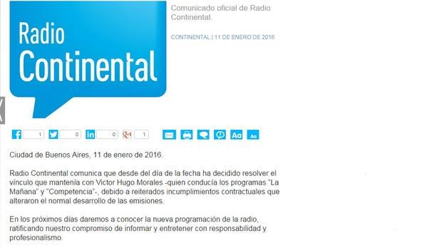 Comunicado de Radio Continental