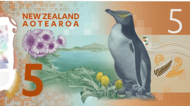 Un pingüino ilustra el reverso del billete de 5 en Nueva Zelanda