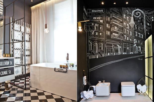 En el área de los sanitarios 'Eminent' (Roca), un mural en tiza de Marcelo Albinati recrea el Soho neoyorquino y le da vida a la pared. Los toalleros y portarrollos son obra de Sandra Teisaire.  /Santiago Ciuffo