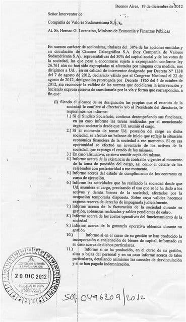 En el largo texto que le enviaron los Ciccone a Lorenzino, hacen reserva de acciones judiciales contra el Estado y piden datos sobre la administración de la imprenta
