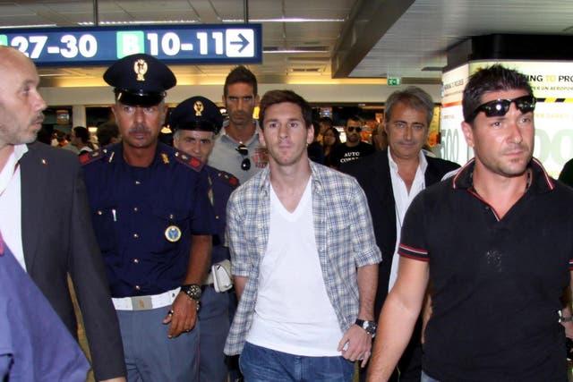 Lionel, cuando arribó al aeropuerto de Fiumicino