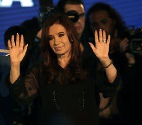 Cristina Fernández de Kirchner en el hotel Intercontinental, anteayer, después de obtener la reelección